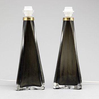 A PAIR OF CARL FAGERLUND ORREFORS TABLE LAMPS, mid 20th century.
