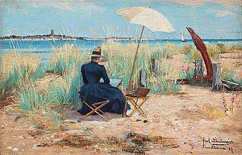 328. Axel Lindman, Beach scene with a woman painting en plein air.