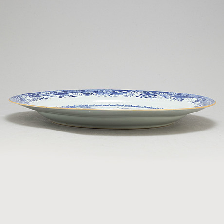 A large blue and white charger, qing dynasty, qianlong (1736 95)