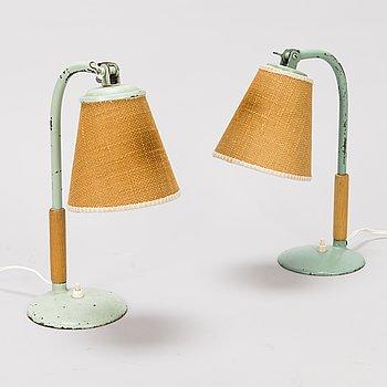 PAAVO TYNELL, bordslampor, 2 st, Taito 1930-tal.