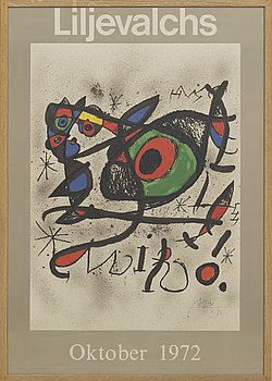 JOAN MIRÓ, exhibition poster, signed and dated 73, Liljevalchs oktober 1972,