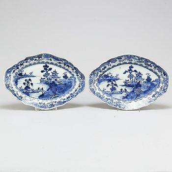 SERVERINGSFAT, ett par, kompaniporslin, Qingdynastin, Qianlong 1736-95.