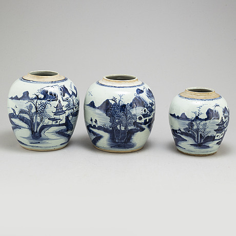 Three blue and white jars, qing dynasty, 19th century