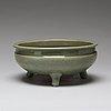 A celdonglazed tripod censer, ming dynasty (1368-1644).