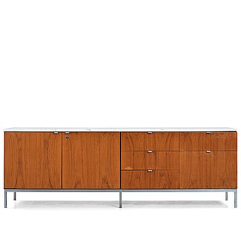 3. Florence Knoll, a walnut and white marble top sideboard, probably produced on license by Nordiska Kompaniet, Sweden 1960's.