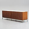 Florence knoll, a walnut and white marble top sideboard, probably produced on license by nordiska kompaniet, sweden 1960's.