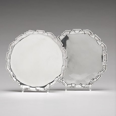A pair of scottish 18th century silver salver, mark of james ker, edinburgh 1739-1740.