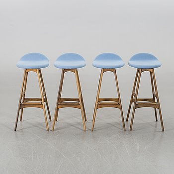 ERIK BUCH - STOOLS, 4 pcs, model OD 61, designed 1961 for Odense Maskinsnedkeri.