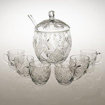 BÅLSKÅL, SLEV OCH 6 GLAS, glas, 1900-talets mitt.