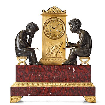 """133. A """"Mer Du Blanche, Mer Du Nord"""" mantel clock, French Empire, early 19th century."""