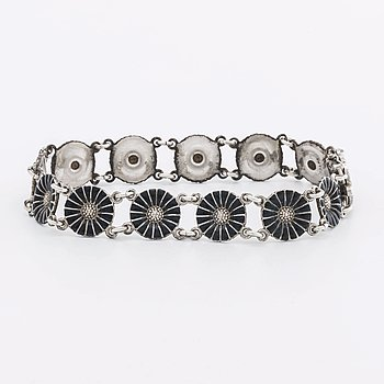 GEORG JENSEN bracelet silver and black enamel.