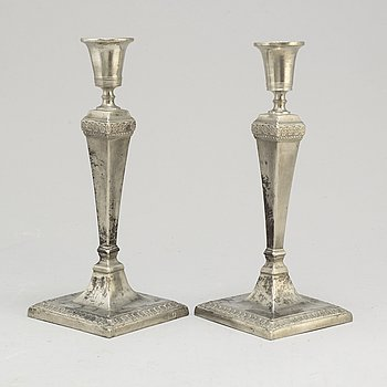 JOHAN PETTER FAGERSTRÖM,  a pair of pewter candlesticks from Kalmar, 1798-1845.