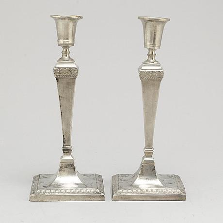 Johan petter fagerström,  a pair of pewter candlesticks from kalmar, 1798-1845.