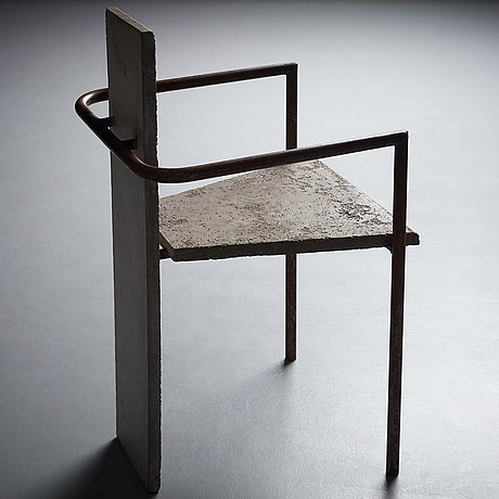 "Jonas bohlin, a ""concrete"" armchair, reportedly the original, the one exhibited at konstfack, stockholm 1981."