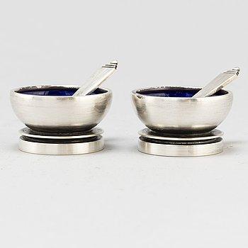 HARALD NIELSEN, a pair of silver and enamel salt cellars for Georg Jensen, Denmark 1945-51.