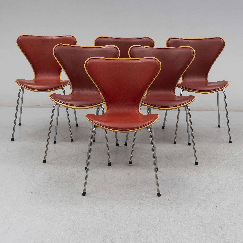 Tremendous Six Sjuan Leather Chairs By Arne Jacobsen Fritz Hansen Pabps2019 Chair Design Images Pabps2019Com