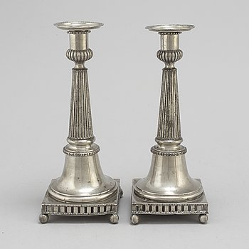 HANS WICKSTEN, a pair of pewter candlesticks, Västerås 1782-1814.