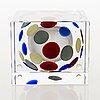 Oiva toikka, an annual glass cube, signed oiva toikka nuutajärvi 2003 and numbered 480/2000.