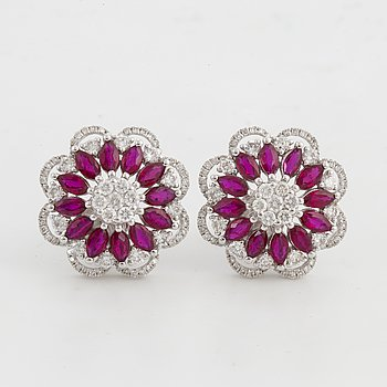 Navette ruby and brilliant-cut diamond flower earrings.