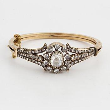 Rose-cut diamond bangle.