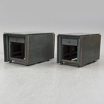 Two 19th Century gate leg tables with similar painting.