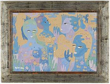 ALY BEN SALEM, gouache/akvarell, signerad.