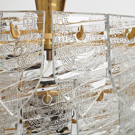Gunnar cyrÉn, a glass and gilt bronze chandelier, orrefors, sweden 1960's