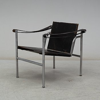 "A ""LC-1"" ARMCHAIR DESIGNED BY LE CORBUSIER FOR CASSINA."