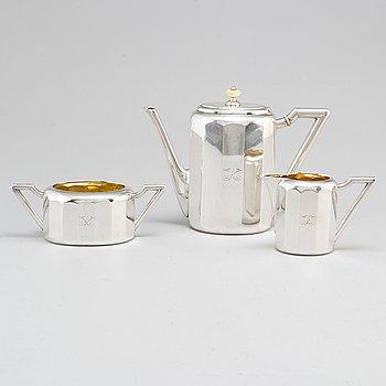 K. ANDERSON, kaffeservis, 3 delar, silver, Stockholm 1909.
