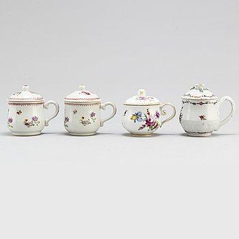 Four 18th century porcelain cream cups. Qianlong (1736-1795).