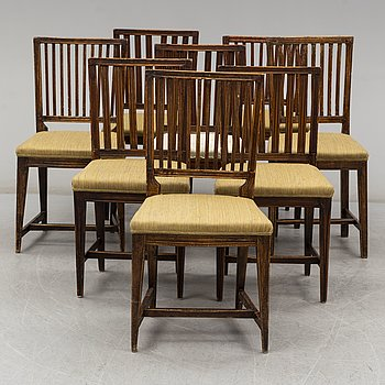 EIGHT CHAIRS, 19th century.