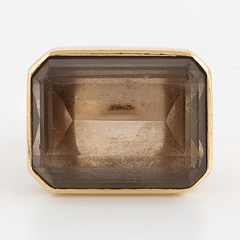 Emerald-cut smoky quartz ring, Hellström & Åhrling.