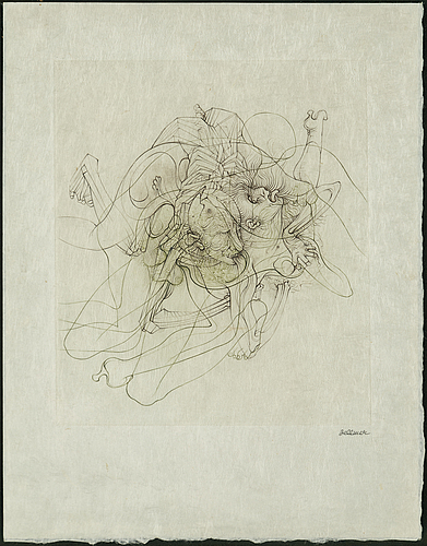 Hans bellmer, 2 etchings with colour, on japon paper, 1968, signed in pencil.