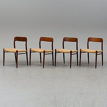 NIELS OLE MØLLER, a set of 4 1950's-/60's teak chairs.