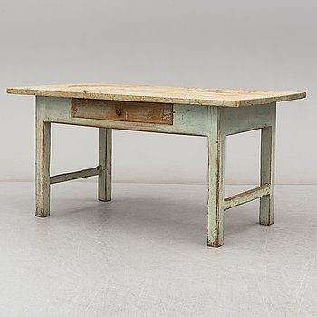 A painted pine table, Jämtland, 19th Century.