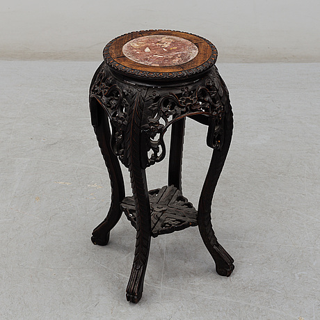 A chinese wooden stand, with stone inlay, 20th century.