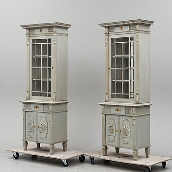 A pair of early 20th century painted cabinets.