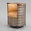 """Mats theselius, an easy chair, """"älgskinnsfåtöljen"""", källemo, sweden post 1991."""