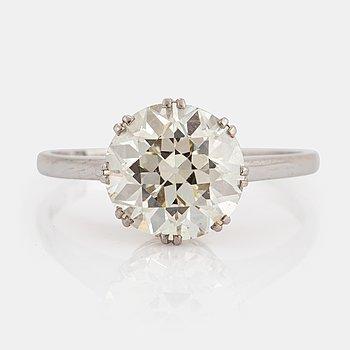 Enstensring med en gammalslipad diamant 3.50 ct enligt gravyr kvalitet ca L/M vs.
