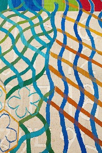 """Katarina röjgård, a tapestry, """"min andra moster"""", tapestry weave, ca 199 x 146 cm, signed k röjgård 1995-96."""