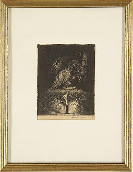 JOHN BAUER, litografi, signerad och daterad 1915.