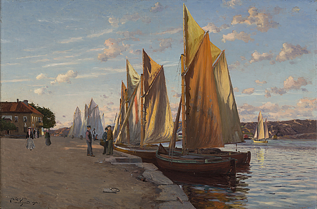 Johan ericson, oil on canvas, signed and dated marstrand 1904