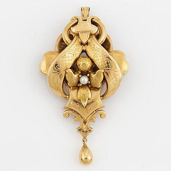 BROSCH/HÄNGE, 18K guld med odlad pärla.