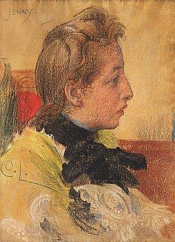 "425. Carl Larsson, ""Jenny"", assumed preparatory study for ""Lovisa Ulrika och Carl Gustav Tessin"" (one of the murals in the Nationalmuseum)."