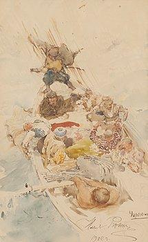 ILJA JEFIMOVITJ REPIN, watercolour, signed and dated 1905.