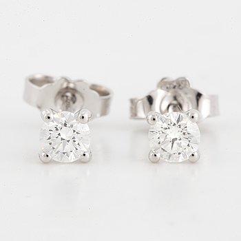 ENSTENSÖRHÄNGEN, ett par, med briljantslipade diamanter, totalt ca 0,40 ct.