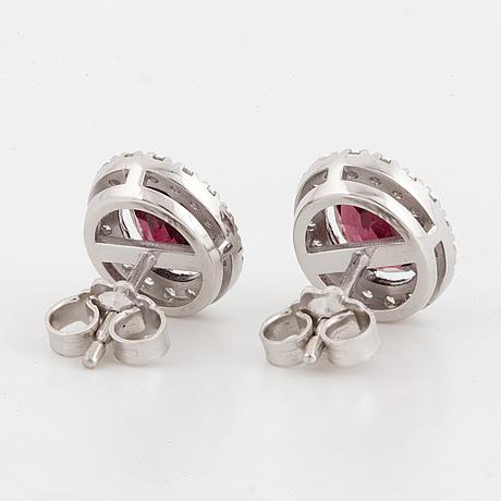 Garnet and brilliant cut diamond cluster earrings