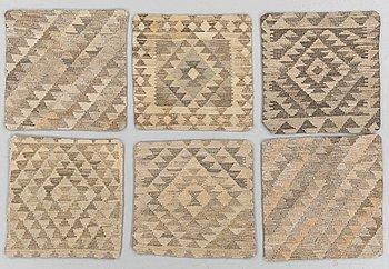 KUDDFODRAL, 6 st, Kelim, ca 45 x 45.