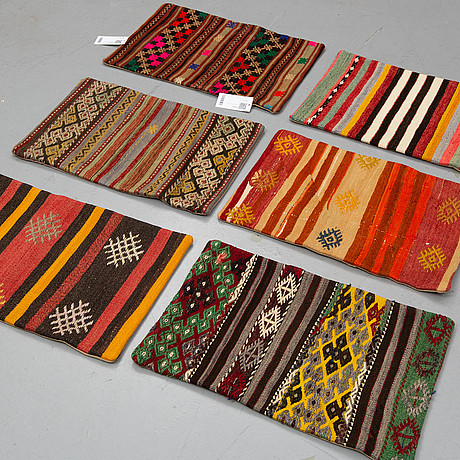 Six kilim cushions, approx, ca 60 x 40 cm
