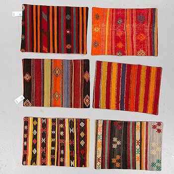 6 Anatolian kilim cushions, around 70 x 50 cm.